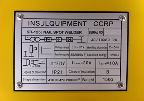 Capacitor Discharge Stud Welder OEM nameplate