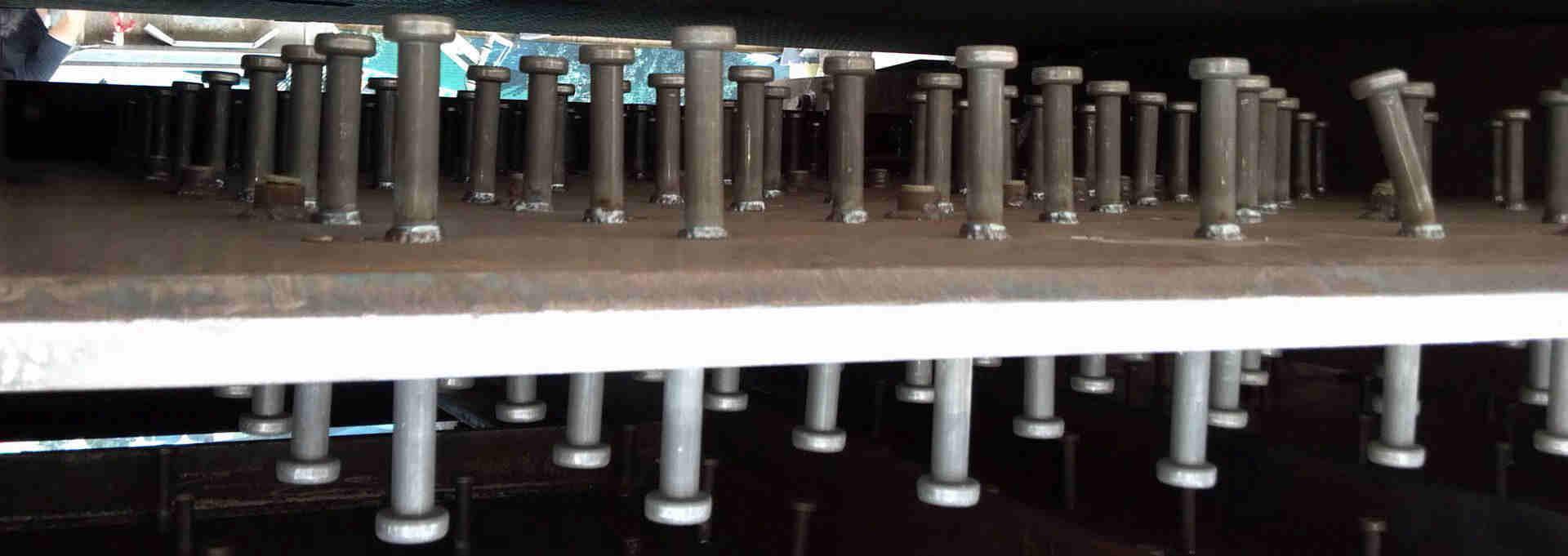 Shear studs on steel beam